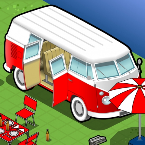 Camping Vehicles 3D Vector