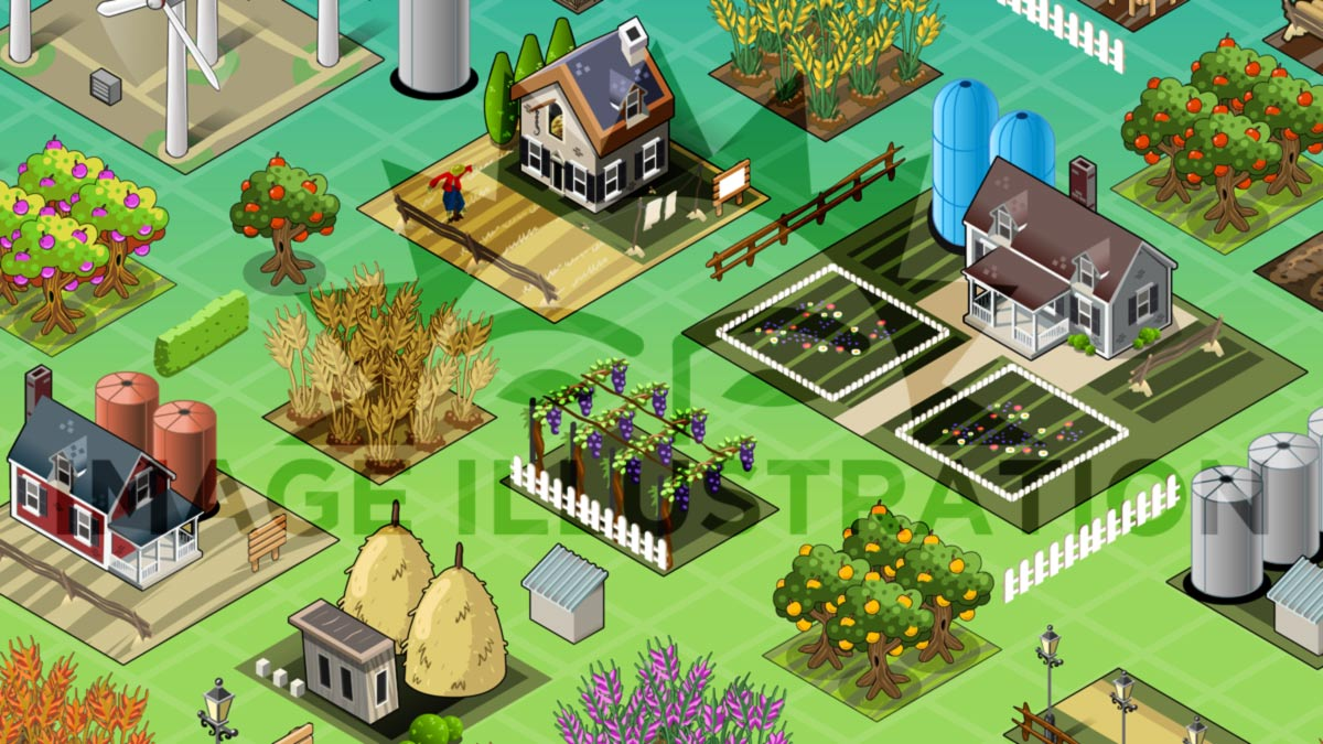Aurielaki vector image of Isometric Farm Set Tiles