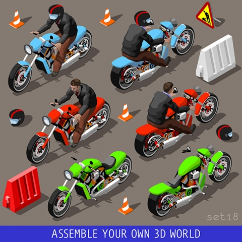 Motorcycle 3D Vector Games