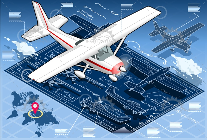 air, aircraft, airplane, airscrew, aviation, blue, cessna, cloud, delivery, Diagram, fly, force, helix, illustration, infographic, isolated, isometric, piper, plane, print, project, sky, tourism, tourist, transport, ultralight, vector, vehicle, vintage, wing