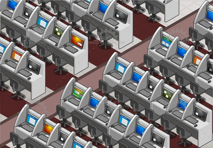 Call Center Office Isometric