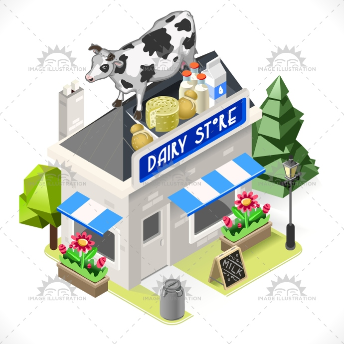 3d, app, boutique, building, business, cartoon, cheese, city, commercial, cow, dairy, facade, food, icon, illustration, infographic, isometric, lowpoly, map, milk, products, shop, small, store, street, stylish, template, town, vector, web