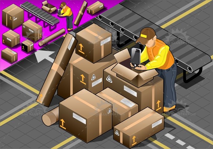 background, box, brown, cap, cardboard, caucasian, collar, courier, delivery, fragile, friendly, handsome, happy, isolated, isometric, Job, labor, mail, man, package, people, person, polo, service, shipping, shirt, smile, transportation, work, worker