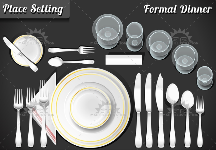 banquet, bowl, butter, dessert, Diagram, dinner, dishware, etiquette, fish, food, fork, formal, glass, kitchen, knife, lunch, menu, napkin, place, placement, plate, salad, service, setting, soup, spoon, table, white, wine