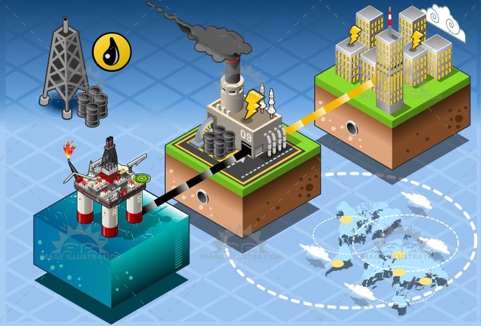 barrel, business, city, concept, crude, design, drilling, energy, extraction, farm, fuel, gas, gasoline, house, illustration, industry, infographic, isometric, mining, offshore, oil, petroleum, pipe, plant, power, production, refinery, rig, station, vector