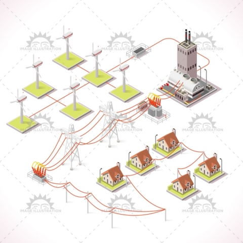 Energy Chain Set Vector 3D