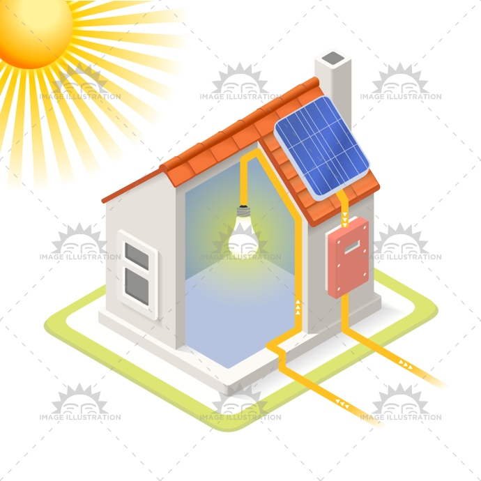 Energy chain represented using an isometric house. quality vector design.