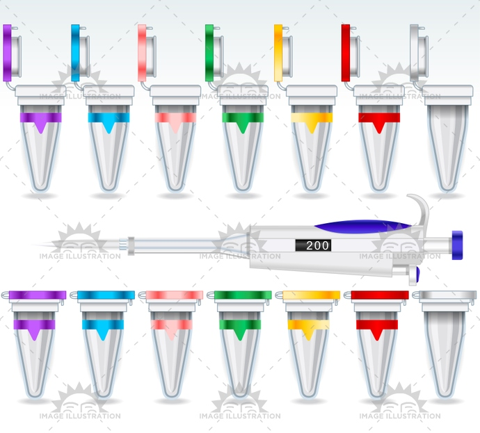 analysis, bio, biology, clinical, close, data, eppendorf, equipment, experiment, genetic, illustration, label, laboratory, medical, micro, micropipette, molecular, multicolor, open, plastic, research, sample, science, set, specimen, tecnology, test, tube, vector