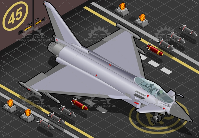 airforce, airplane, airport, AirVehicle, arming, aviation, bomb, BomberPlane, CoastGuard, defence, eurofighter, hangar, isolated, isometric, jet, landed, military, missile, pilot, RAF, SpecialForces, SupersonicAirplane, Typhoon, war, weapon