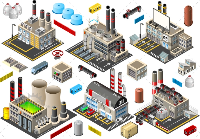 atomic, blast furnace, building, bus, business, chimney stack, electric, energy, factory, garage, Generator, hub, illustration, industry, isometric, logistic, mall, manifacture, oil, plant, power, sector, silo, storage, store, supermarket, turbine, vector, warehouse