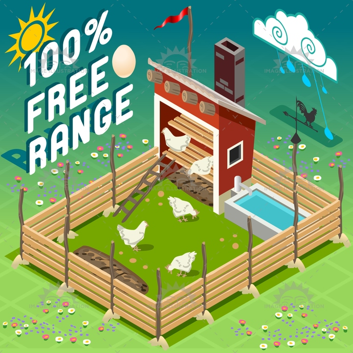 american, axonometric, barn, chiken, countryside, eggs, farm, farming, free range, hard work, hayloft, hen, henhouse, illustration, isometric, patio, rain, ranch, red, rural, set, sheaf, silos, storage, tile, turkey, vector, weather vane, windmill, wood