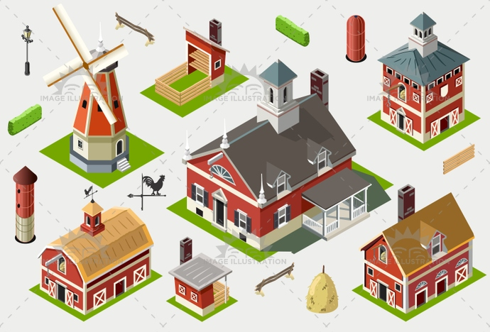 american, axonometric, barn, building, cattle, countryside, dairy, farm, great, hard work, hayloft, historic, illustration, infographic, isometric, liberty, old, ranch, red, rural, set, sheaf, silos, storage, tile, vector, vermont, weather vane, windmill, wood