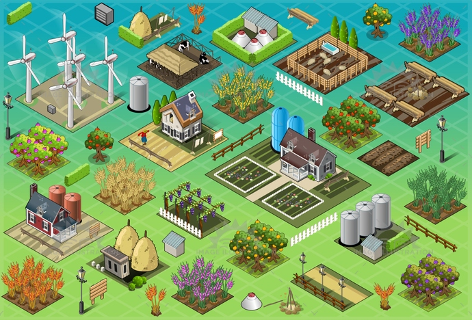 agriculture, barn, building, cartoon, country, countryside, cow, farm, field, folic, green, illustration, isometric, nature, panel, pig, ranch, rural, rustic, scarecrow, seasons, set, silos, storage, turbine, vector, village, vineyard, windmill, wood