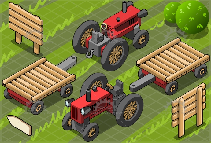agriculture, background, bush, cart, engine, environment, equipment, fair, farm, farming, fence, field, green, indication, industry, isolated, isometric, machinery, old, power, red, rural, tractor, transport, transportation, vehicle, vintage, wheel, wood