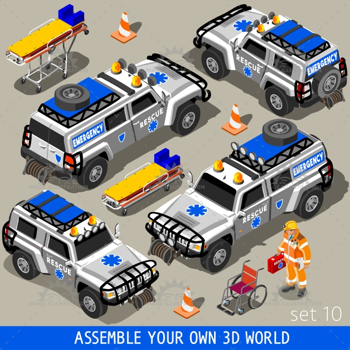 3d, accident, aid, ambulance, app, assemble, assist, assistance, bright, clinician, color, crash, emergency, equipment, first, flat, game, heavy, help, illustration, infographic, isometric, jeep, means, medical, medicine, national, palette, paramedic, pile, rescue, road, set, stop, stylish, suv, team, template, transport, up, vector, vehicle, vivid, volunteer, web, white, world