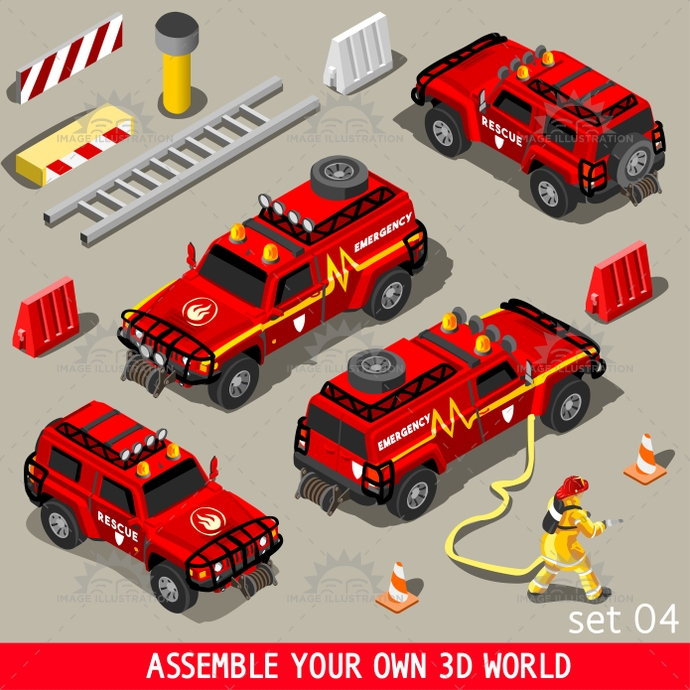 3d, aid, app, arson, assemble, assist, assistance, blaze, bright, color, emergency, equipment, fire, firefighter, fireman, firemen, first, flame, flat, game, heavy, help, illustration, infographic, isometric, means, medical, medicine, national, palette, red, rescue, set, stop, stylish, suv, team, template, transport, vector, vehicle, vivid, volunteer, web, world