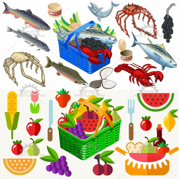 3d, app, apple, basket, bluefish, cob, crab, fish, flat, food, fruit, grapes, icon, illustration, isometric, lemon, lobster, logo, mollusc, picnic, restaurant, shell, shellfish, strawberry, stylish, template, vector, vegetable, watermelon, web
