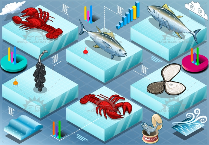 aquaculture, blue, business, cloudy, color, commercial, farm, farming, fish, fishfarm, fishing, food, fresh, industry, infographic, isolated, isometric, lobster, marine, mussel, nature, oyster, production, sea, seafood, tuna, water, wave, wind