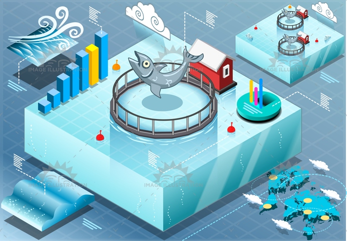 aquaculture, aurata, blue, boat, business, cloudy, color, commercial, farm, farming, fish, fishery, fishfarm, fishing, food, fresh, industry, infographic, isolated, isometric, marine, nature, plant, production, sea, seafood, sparus, water, wave, wind