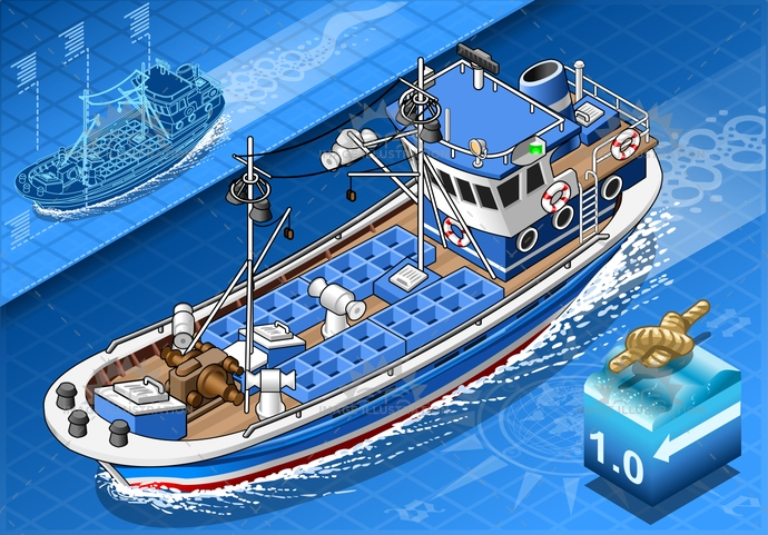 background, blue, boat, BoatDeck, commercial, fish, fisherman, fishing, fishing-boat, fishing-trawler, IndustrialShip, isometric, marine, marinesailing, nautical, NauticalVessel, ocean, overseas, sailor, sea, ship, transportation, trawler, tugboat, vessel, water, wave