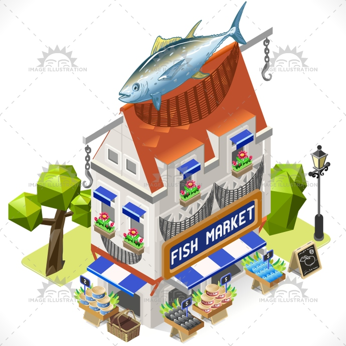 3d, app, bluefish, building, chain, city, fish, fishmonger, food, game, green, icon, illustration, infographic, isometric, market, omega, road, shop, street, stylish, template, tile, tint, town, traceability, tuna, vector, web, world