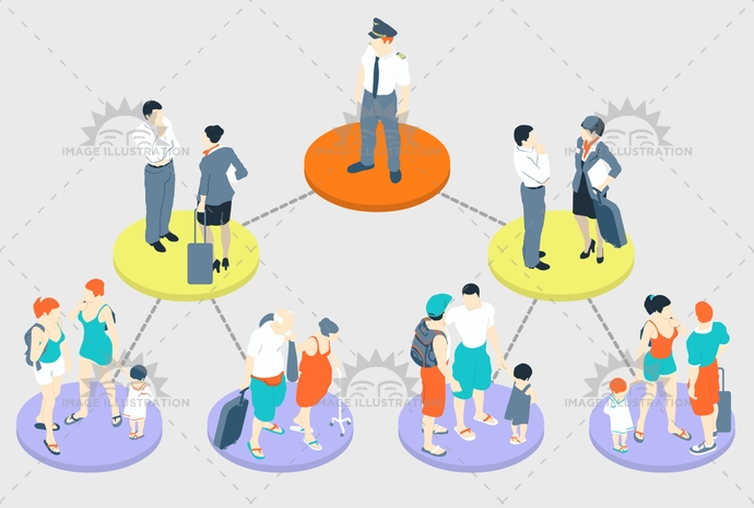 airport, attendant, captain, chart, family, fly, ground, hierarchy, holiday, hostess, illustration, infographic, instructions, isometric, journey, kids, luggage, man, old, parents, pastel, people, plane, rules, security, steward, stewardess, tasks, vector, woman