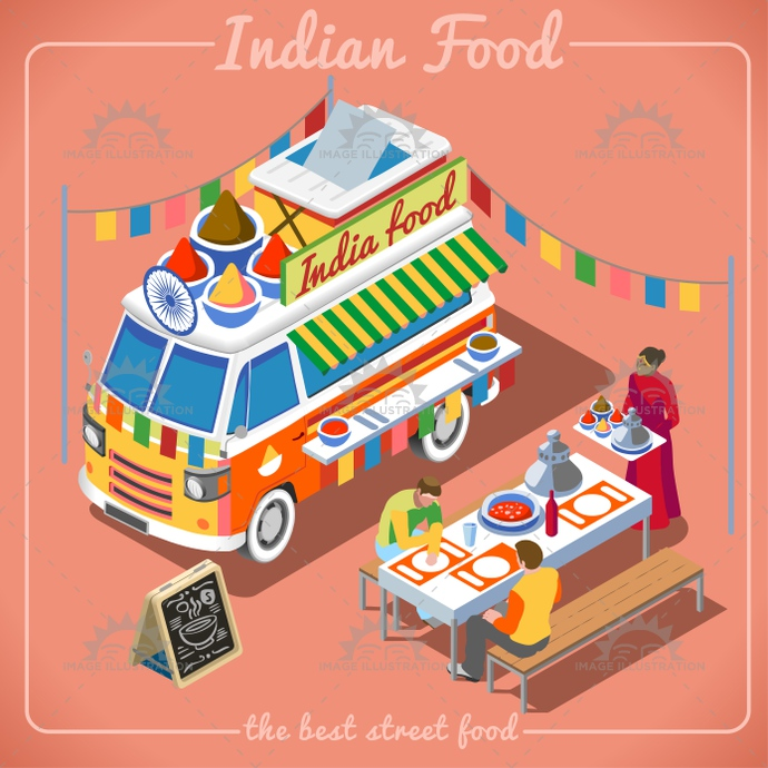 Food Truck 02 Vehicle Isometric