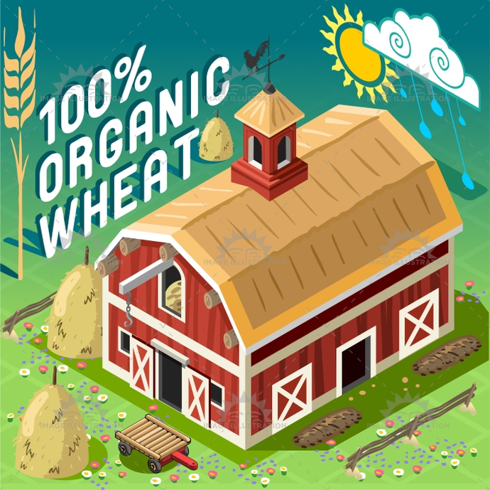 american, axonometric, barn, building, cart, cereals, farm, farming, full, grain, icon, illustration, infographic, isometric, organic, patio, postcard, rain, ranch, rural, set, sheaf, storage, symbol, template, tile, vector, weather, web, wheat