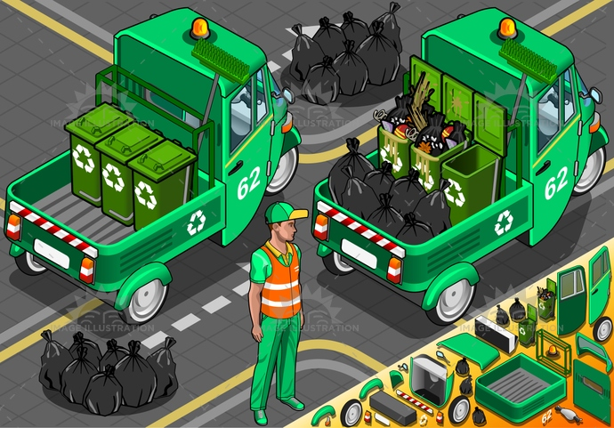 bag, bin, city, collect, collection, conservation, dirt, driver, dump, environmental, equipment, Garbage, green, isolated, isometric, man, municipal, passenger, people, recycle, recycling, refuse, rickshaw, rubbish, sanitation, service, trash, tuk, tuktuk, waste