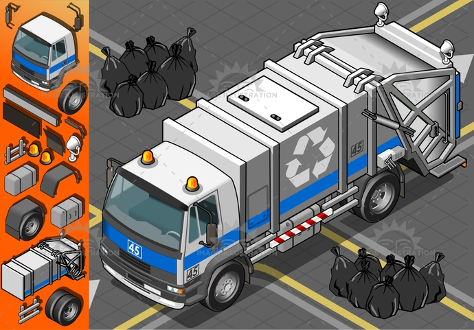 carrier, collection, container, dirt, driving, Garbage, Garbagebag, garbagecontainer, isolated, isometric, landvehicle, lights, MotorVehicle, municipal, recyclingsymbol, rubbishbin, spotlight, tires, transport, transportation, Transportofgoods, truck, waste, wheels, white