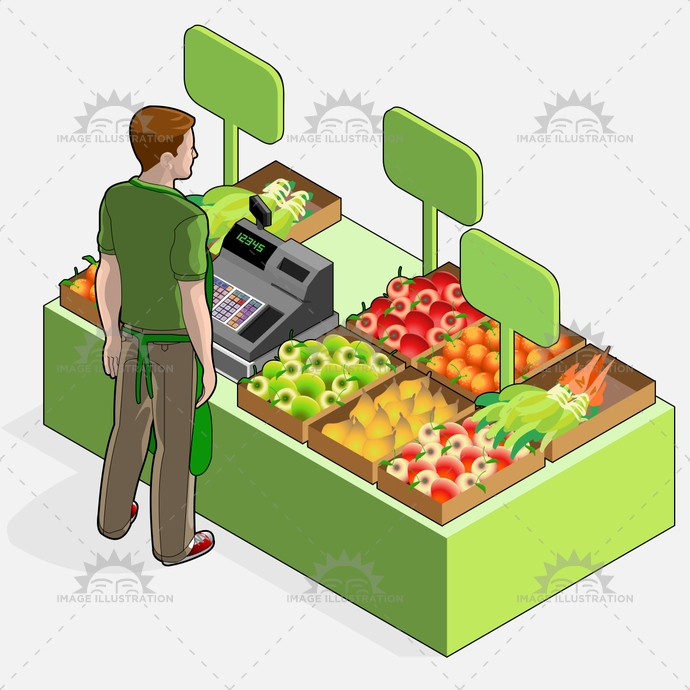 advertising, biodynamic, biologic, boy, business, cash, certified, fair, farm, farmer, food, fruit, greengrocer, grocery, illustration, isometric, kilometre, km 0, market, owner, raw, register, retail, sale, shop, vector, vegan, vegetables, vegetarian, zero