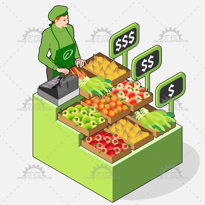 advertising, business, cash, certified, customer, fair, farm, farmer, food, fruits, greengrocer, grocery, illustration, isometric, label, market, organic, owner, paper, people, register, retail, sale, shop, shopping, small, street, vector, vegetables, woman