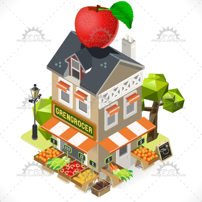 Greengrocer Building Isometric