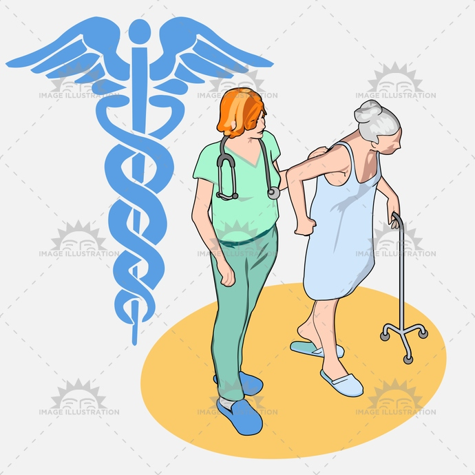 aid, assistance, care, caregiver, carer, doctor, elderly, female, grandmother, health, help, home, Hospital, icon, illness, illustration, isolated, isometric, medical, nurse, nursing, old, patient, people, senior, stick, tripod, vector, women