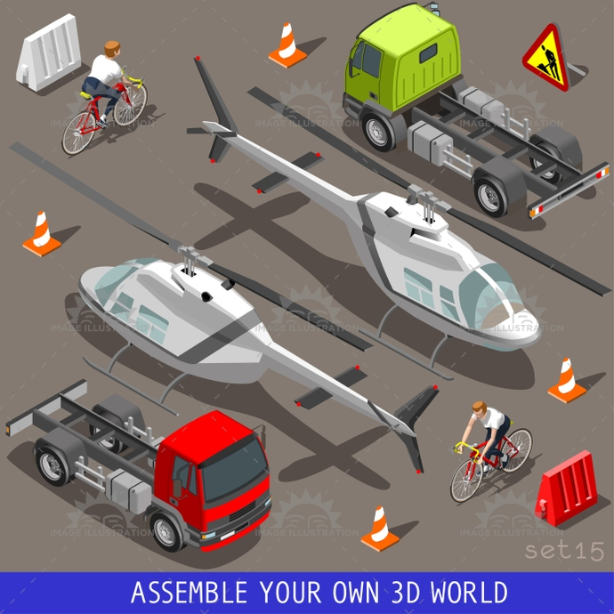 3d, aid, bicycle, bike, build, carrier, collection, cyclist, flat, helicopter, icon, illustration, industry, infographic, isolated, isometric, isometry, motor, objects, semi, set, template, traffic, trailer, transport, truck, vector, vehicle, web, wheel