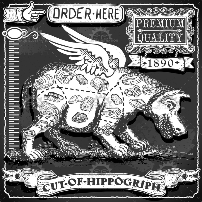 aged, ancient, antique, background, banner, blackboard, ButcherShop, butchery, chalk, creature, cuisine, decoration, food, freehand, gastronomy, handwriting, hippo, Hippogriph, meat, menu, myth, old, retro, typography, vintage