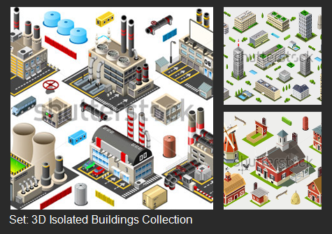 3D Isolated Buildings Collection