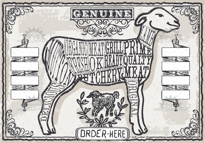 aged, ancient, antique, banner, butcher, butchery, crayon, cuisine, cuts, decoration, english, food, freehand, gastronomy, handwriting, lamb, meat, menu, mutton, old, page, pastel, retro, sheep, shop, typography, vintage