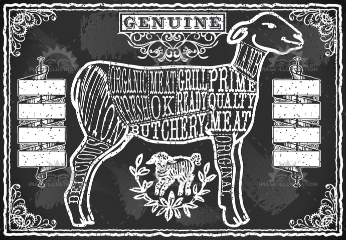 aged, ancient, antique, banner, blackboard, butcher, butchery, chalk, cuisine, cuts, decoration, english, food, freehand, gastronomy, handwriting, lamb, meat, menu, mutton, old, retro, sheep, shop, typography, vintage