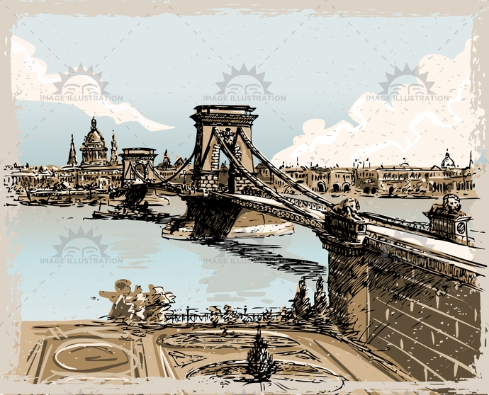 architecture, background, bridge, budapest, capital, city, cityscape, crayon, danube, drawing, engraving, europe, handdrawn, hungarian, hungary, landmark, lion, magyar, parliament, pastel, pest, river, scene, symbol, town, travel, vintage, water