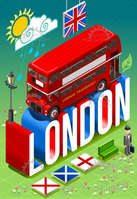 3d, axe, bowler, britain, capital, decker, double, england, europe, flag, flat, gentleman, great, hat, illustration, infographic, isometric, jack, kingdom, london, postcard, template, touristic, travel, trendy, union, united, vector, weather, web