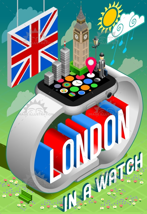 London UK Watch Concept Isometric
