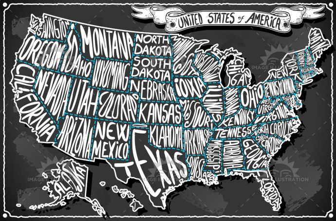 Map USA Vintage Blackboard 2D - Image Illustration