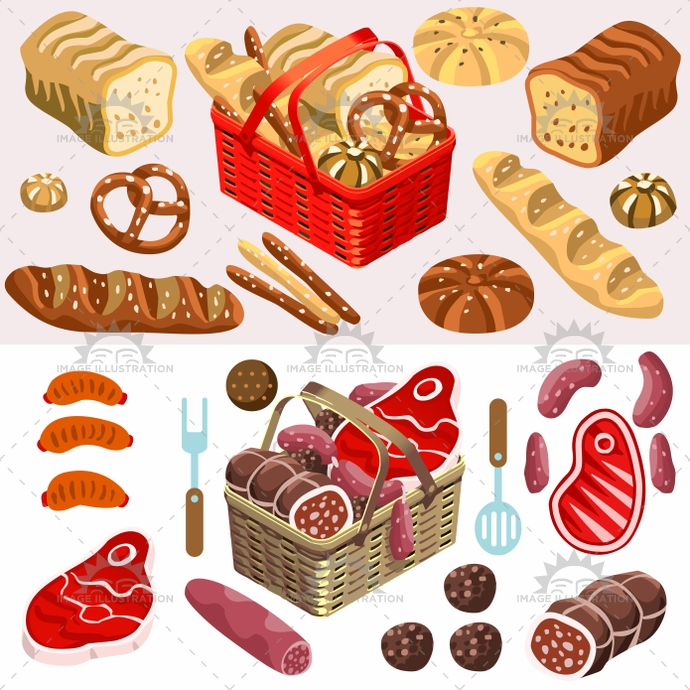 3d, app, bacon, baguette, baked, beef, bread, bretzel, cured, fastfood, french, goods, grilled, illustration, isolated, isometric, loaf, logo, meat, picnic, pork, products, raw, sausage, sourdough, steak, stylish, template, vector, web