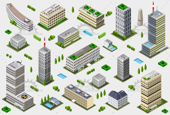 3d, apartment, architecture, axonometry, building, business, city, cityscape, collection, construction, european, game, house, icon, illustration, isometric, megapolis, model, modular, office, perspective, plan, set, skyscraper, street, tales, town, urban, vector