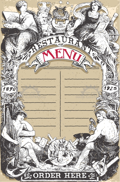 aged, ancient, antique, arts, banner, crayon, cuisine, divinity, drink, font, food, gastronomy, handwriting, label, liberty, man, menu, old, order, page, plate, restaurant, retro, romantic, scroll, typography, victorian, vintage, woman