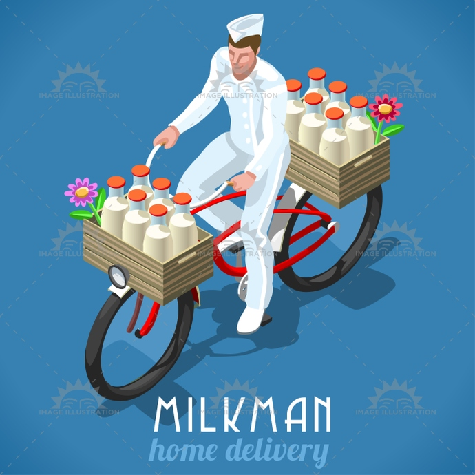 3d, advertising, app, background, bicycle, breakfast, confectionery, delivery, flat, food, fresh, high, home, illustration, industry, isolated, isometric, logo, man, milk, milkman, milky, organic, quality, stylish, symbol, template, vector, vintage, web