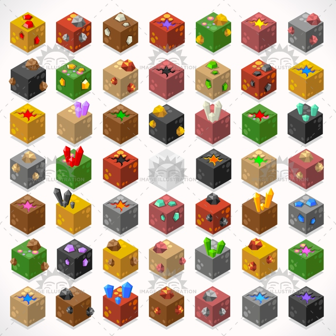 3d, adventure, app, block, box, build, cement, chest, coal, collection, craft, creative, crystal, cube, desert, diamond, element, flat, game, gems, generic, glass, gold, grass, house, illustration, iron, isolated, isometric, jelly, kit, lava, mega, mine, precious, puddle, resource, ruby, starter, stone, stylish, template, textured, tiles, treasure, vector, web, world