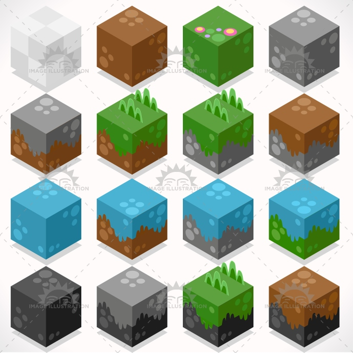 3d, adventure, app, build, coal, collection, craft, creative, cube, element, flat, four, game, grass, illustration, iron, isometric, kit, mega, mine, resource, starter, stylish, template, textured, vector, water, web, world