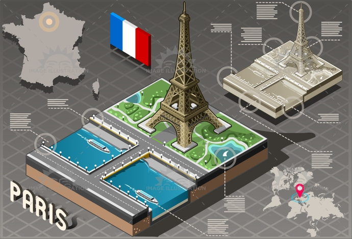 architecture, background, beautiful, beauty, capital, city, destination, eiffel, europe, famous, france, french, holiday, honeymoon, illustration, infographic, isolated, isometric, landmark, Monument, panorama, paris, romantic, tour, tourism, touristic, tower, travel, vacation, vector